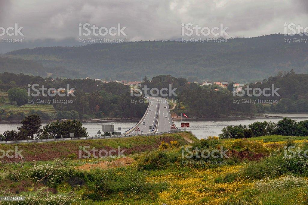 View of freeway bridge over Ria de Arousa in Galicia, Spain. royalty-free stock photo