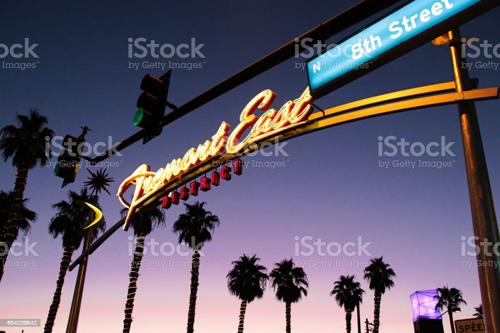 View of Fremont Street with vintage lit Vegas sign stock photo