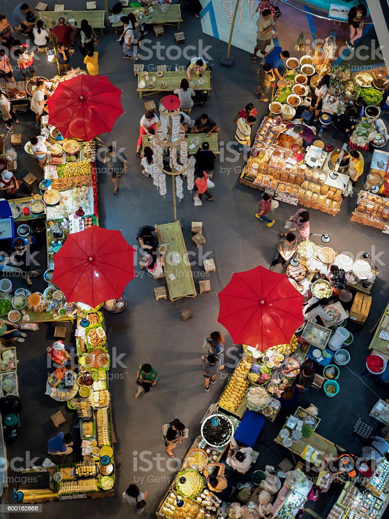 view of fresh fruit and vegetables market stock photo