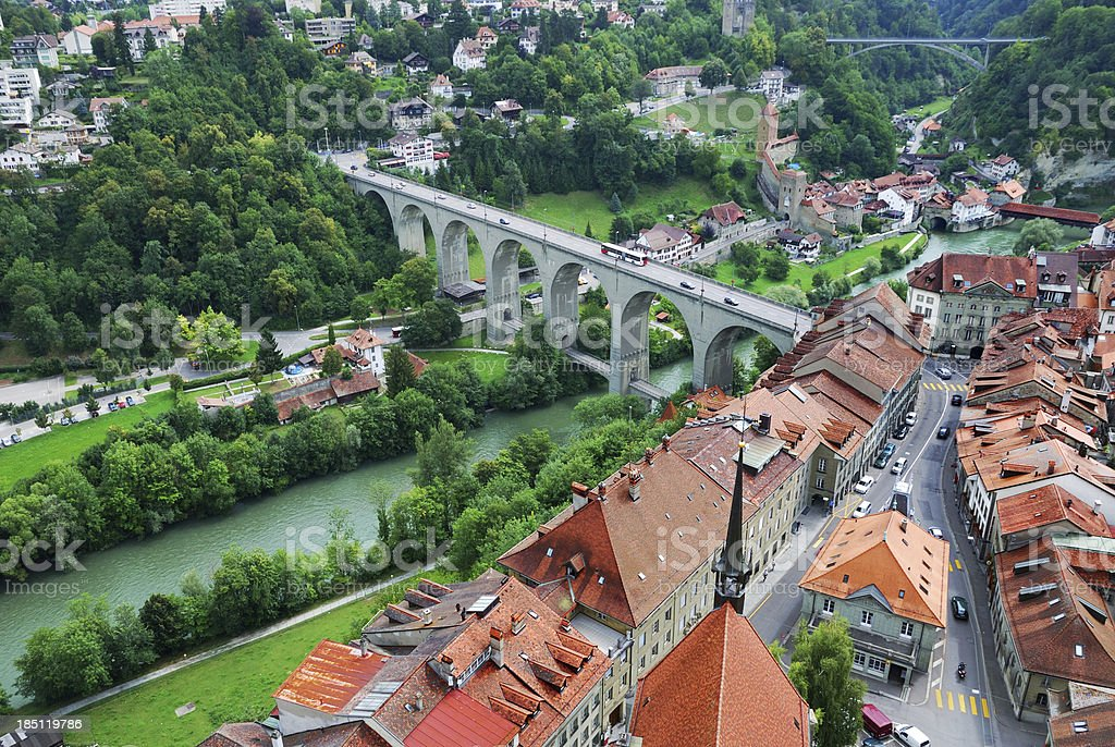 View of Fribourg from above stock photo
