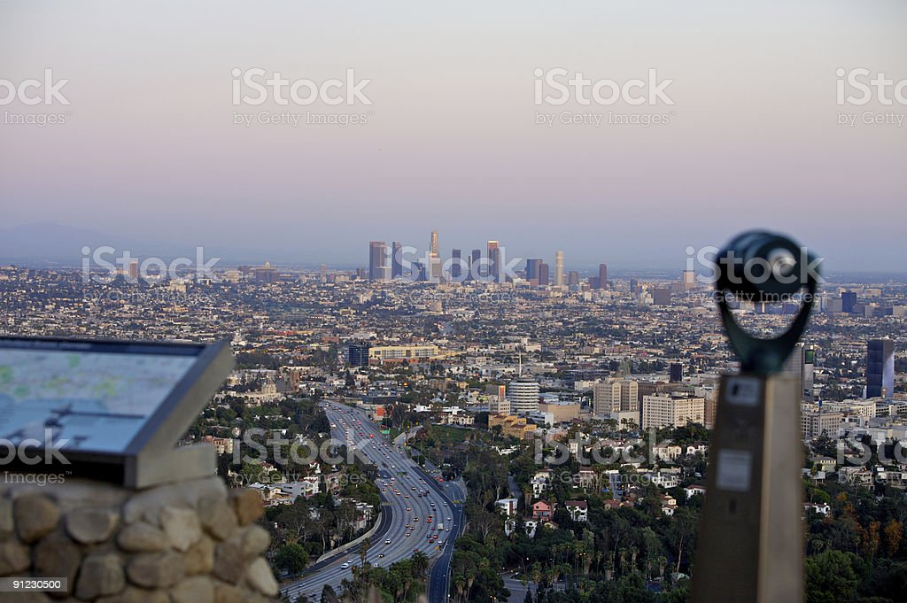 View of LA from Hollywood Hills royalty-free stock photo