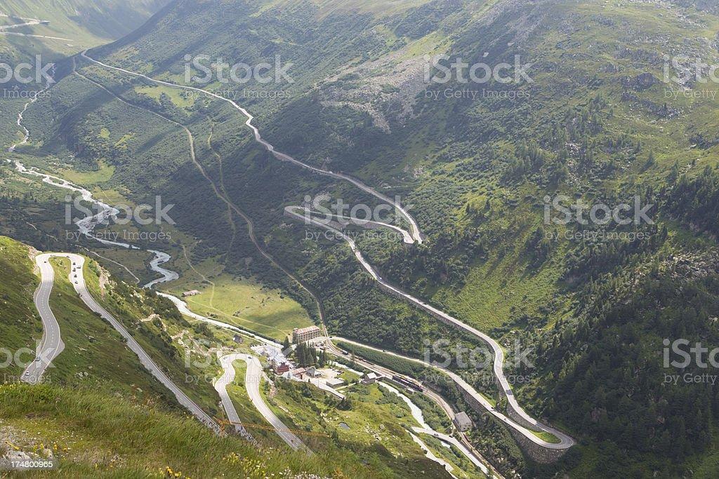 View of Furka high mountain pass, Switzerland stock photo