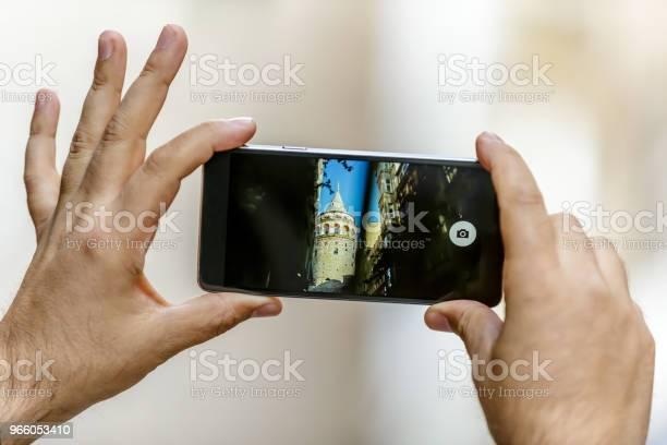 Вид На Башню Галата Средневековую Знаменитую Достопримечательность — стоковые фотографии и другие картинки Башня