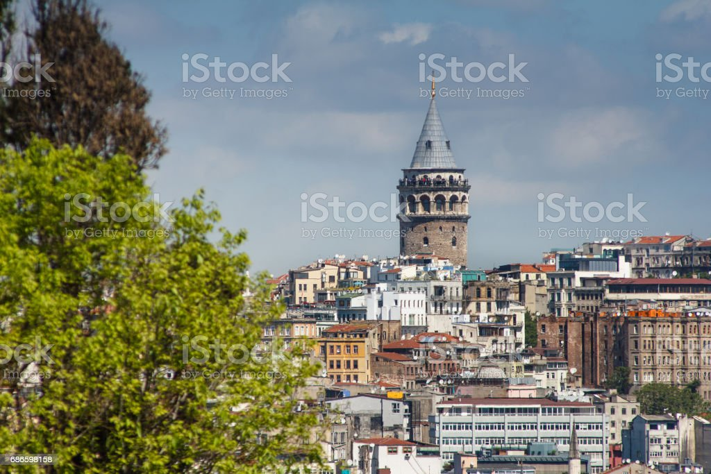 View of  Galata Tower from the Bosphorus. Istanbul. Turkey. royalty-free stock photo