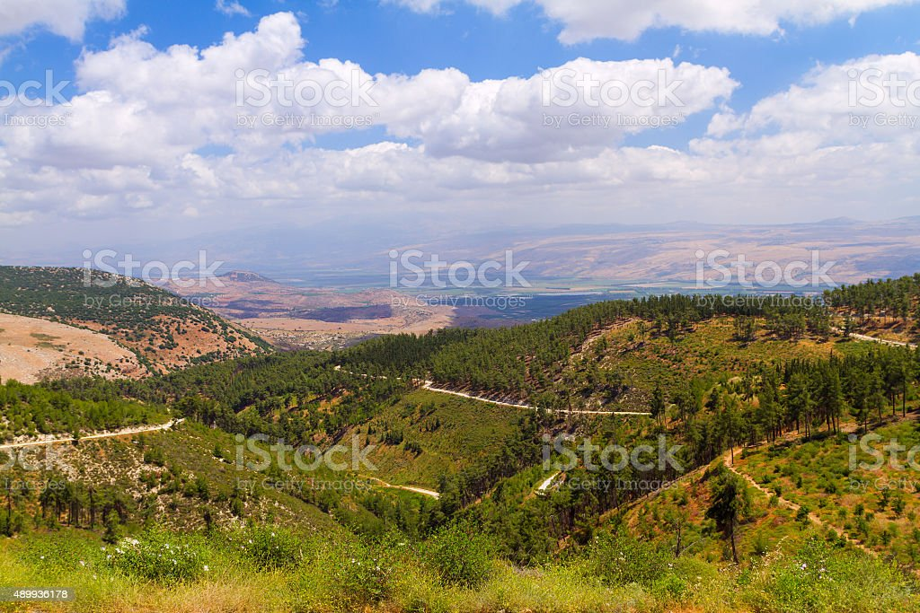 View of Galilee mountains stock photo