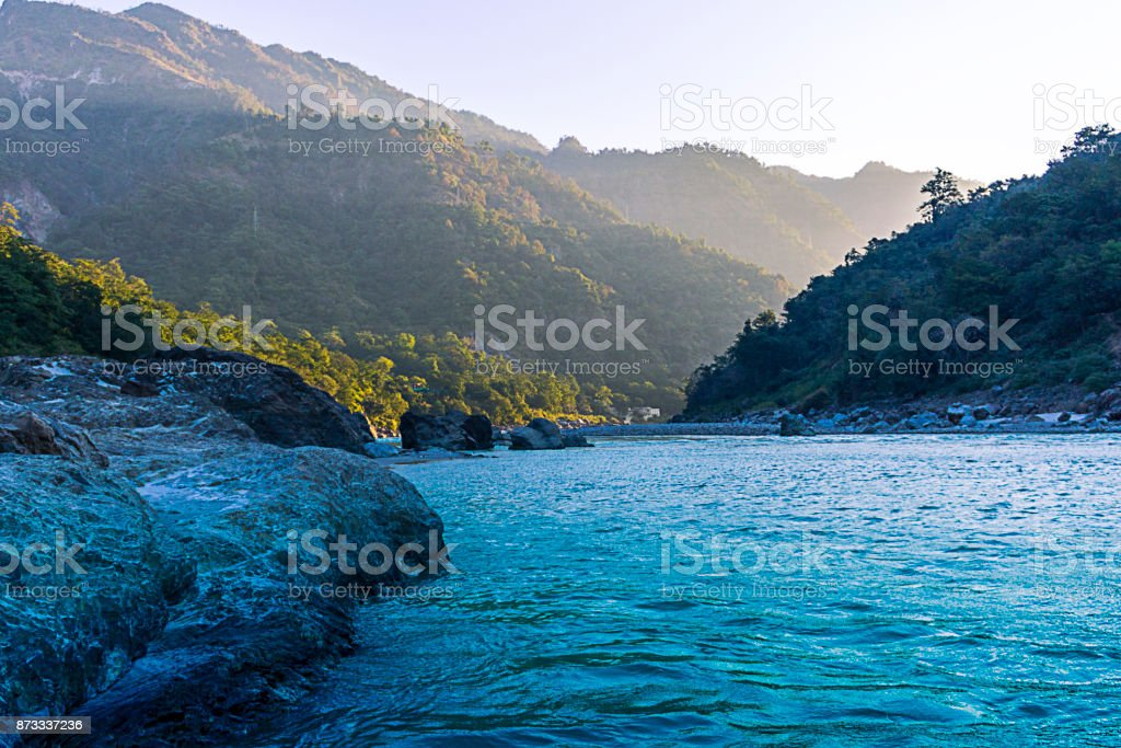 View of Ganges river in Rishikesh , India stock photo