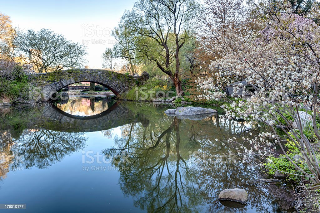 View of Gapstow bridge in Central Park, New York, New York  stock photo