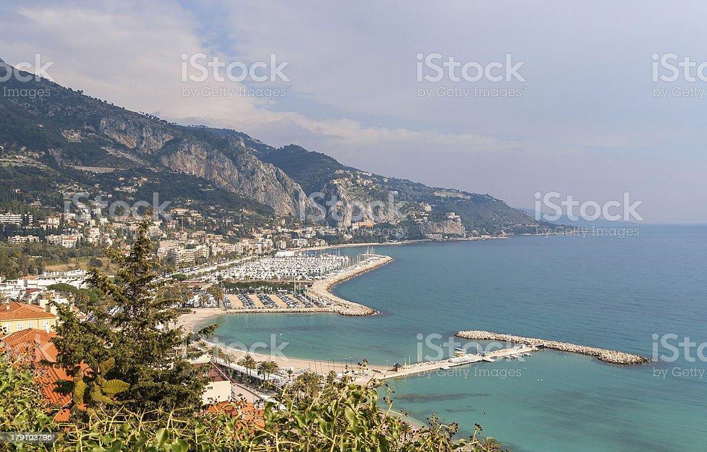View of Garavan - Menton, French Riviera stock photo