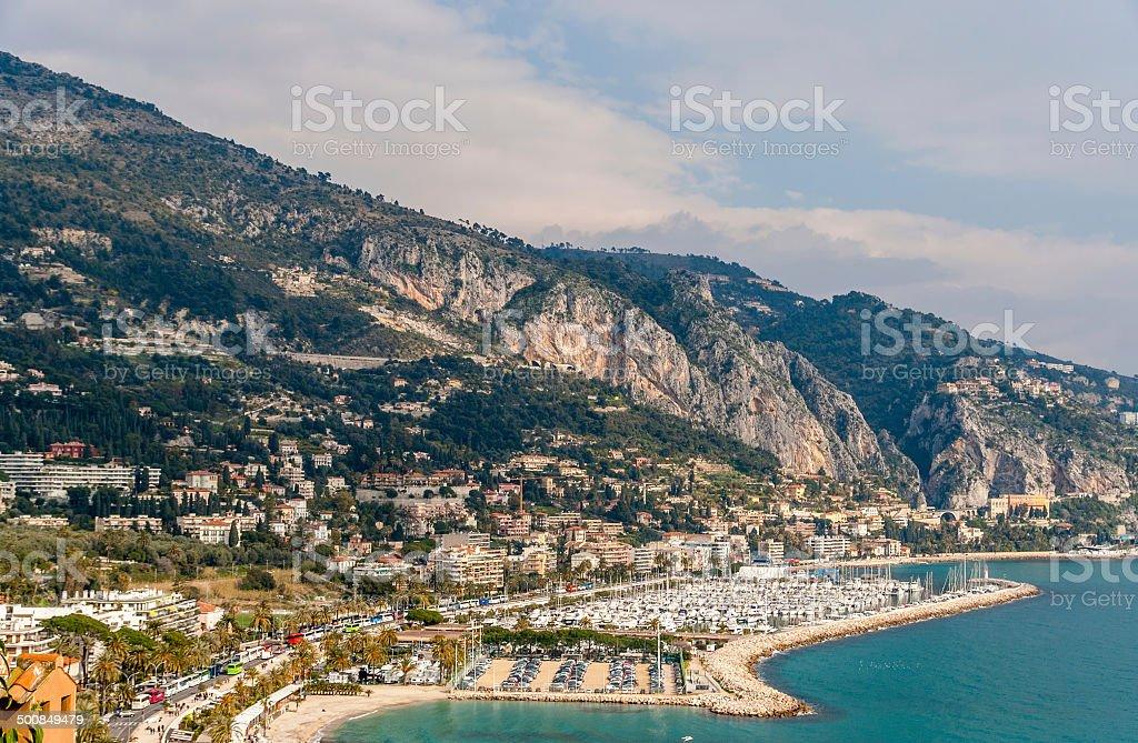 View of Garavan - Menton - French Riviera stock photo