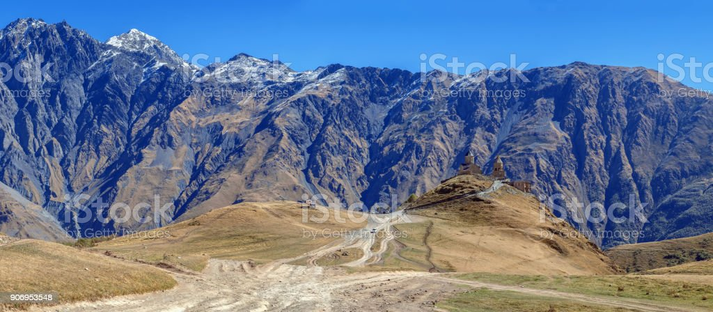 View of Gergeti Trinity Church, Georgia stock photo