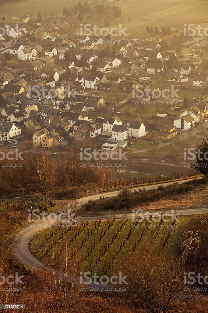 View of German Village along river Mosel royalty-free stock photo