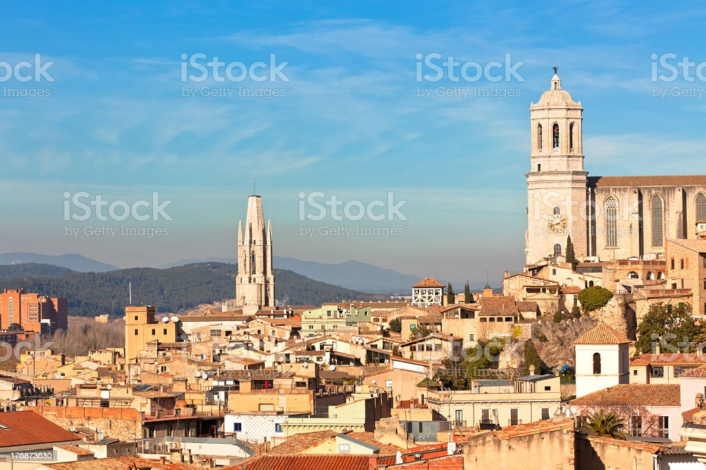 View of Gerona Spain from above  stock photo