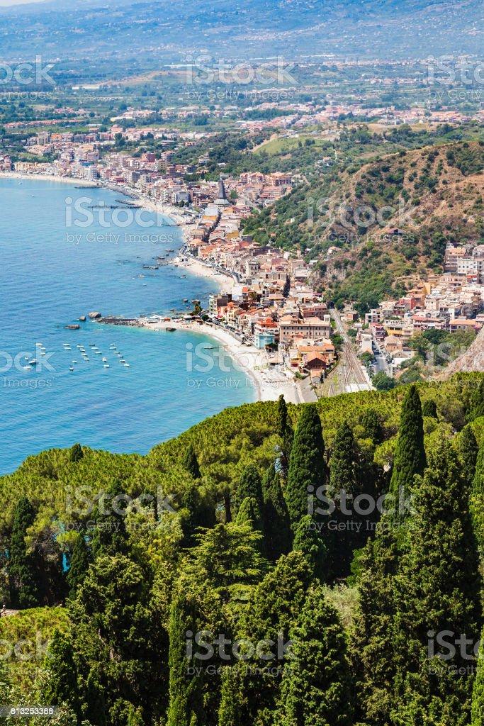view of Giardini Naxos town on Ionian Sea shore stock photo