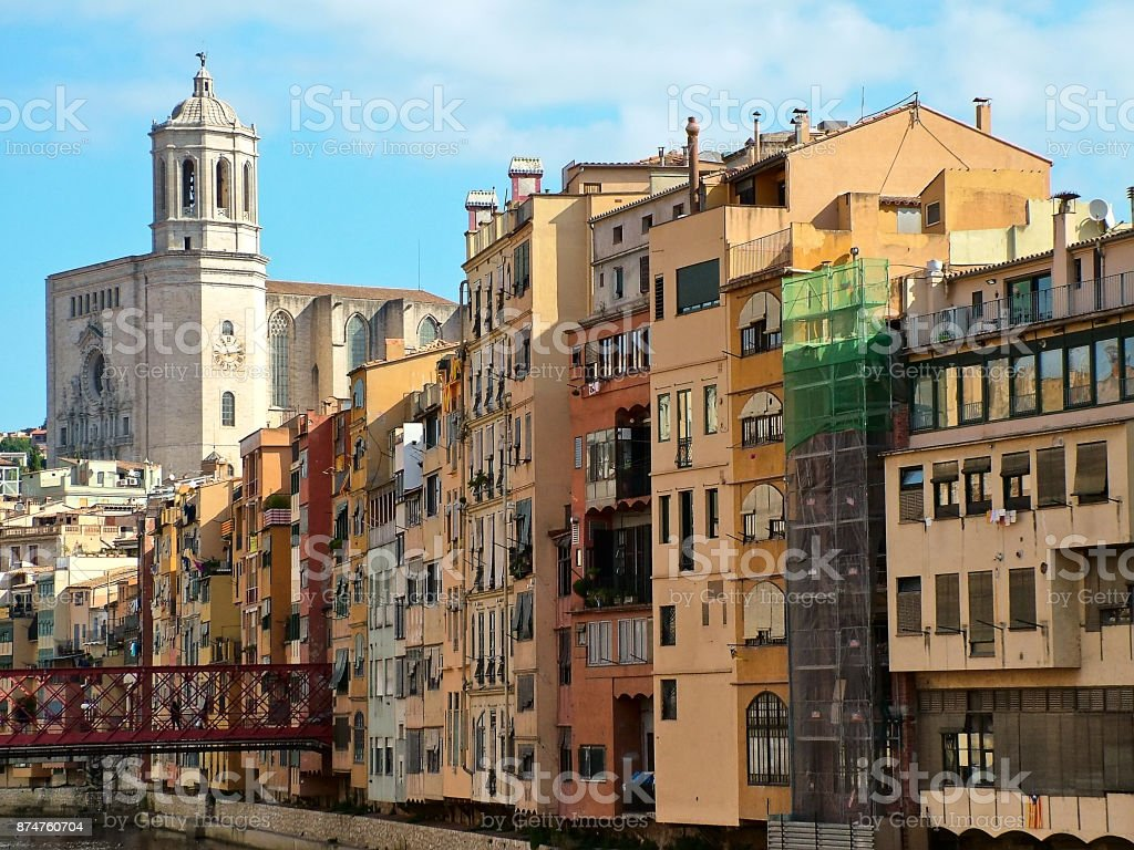 View of Girona in autumn  , Spain stock photo