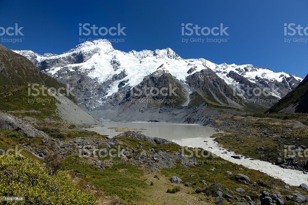 view of glacier lake at Hooker Valley stock photo