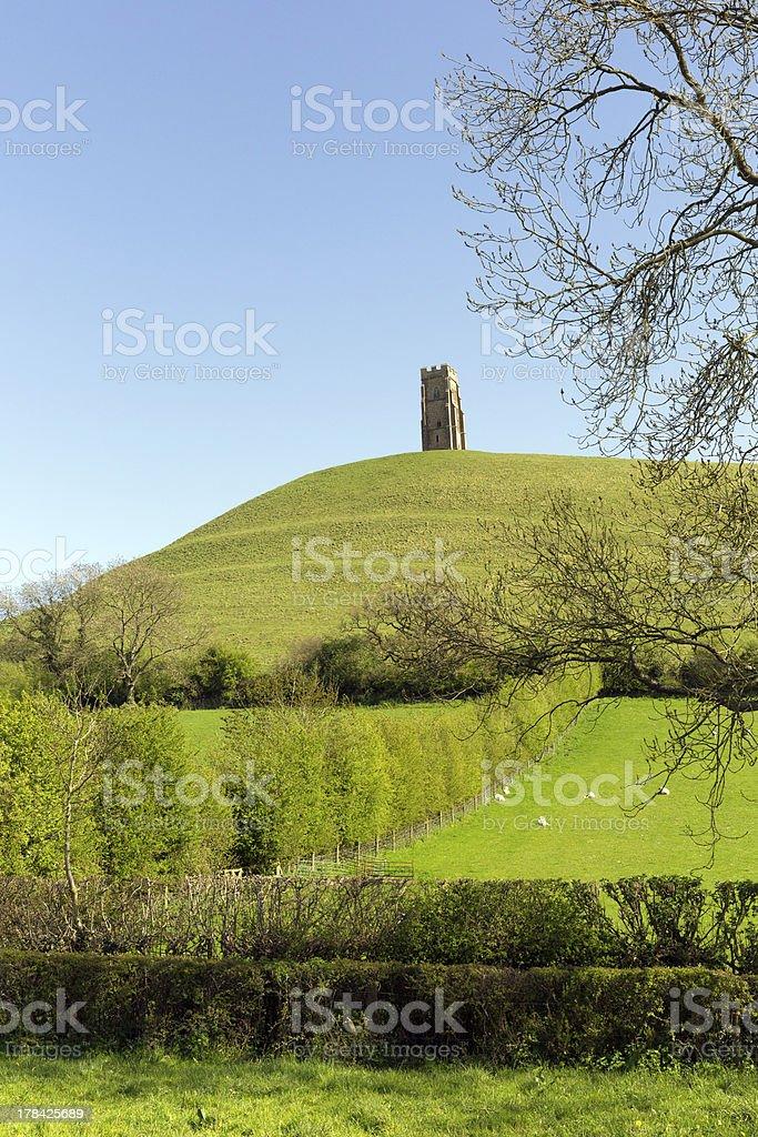 View of Glastonbury Tor Somerset England stock photo