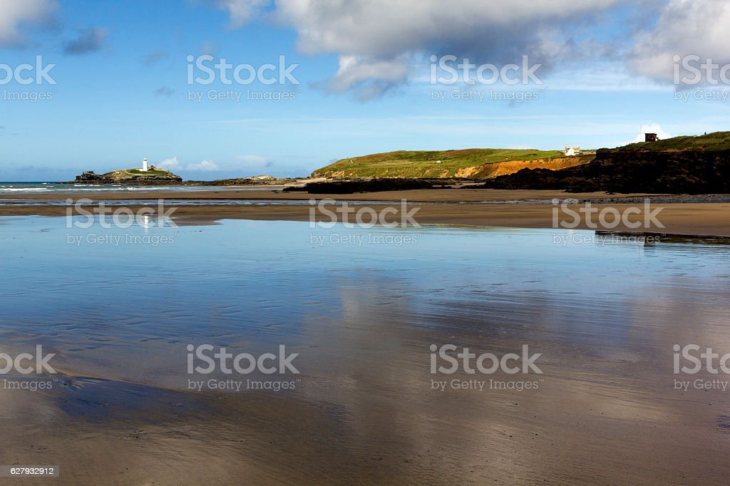 View of Godrevy Beach, Lighthouse and Island, Cornwall. stock photo