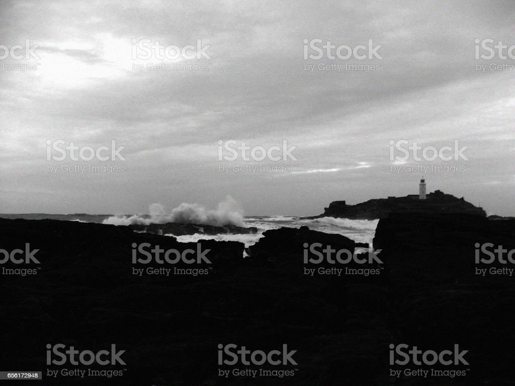 View of Godrevy Lighthouse stock photo