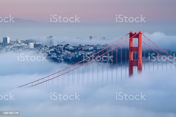 View Of Golden Gate Bridge On A Foggy Day Stock Photo - Download Image Now