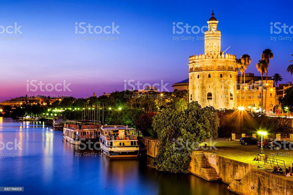 View of Golden Tower (Torre del Oro),Seville,Andalusia,Spain stock photo