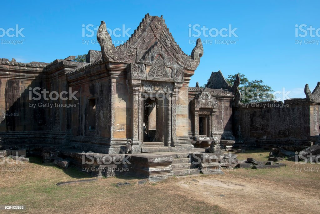 View of Gopura III with decorated entrance at the 11th century Preah Vihear Temple stock photo