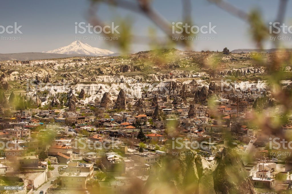 View of Goreme, old city of Cappadocia, Turkey stock photo