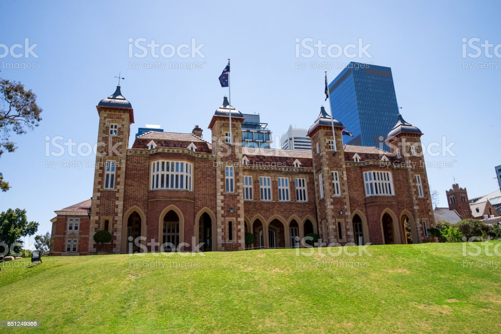 A view of Government House with Perth City Central Business district buildings on background, Western Australia stock photo