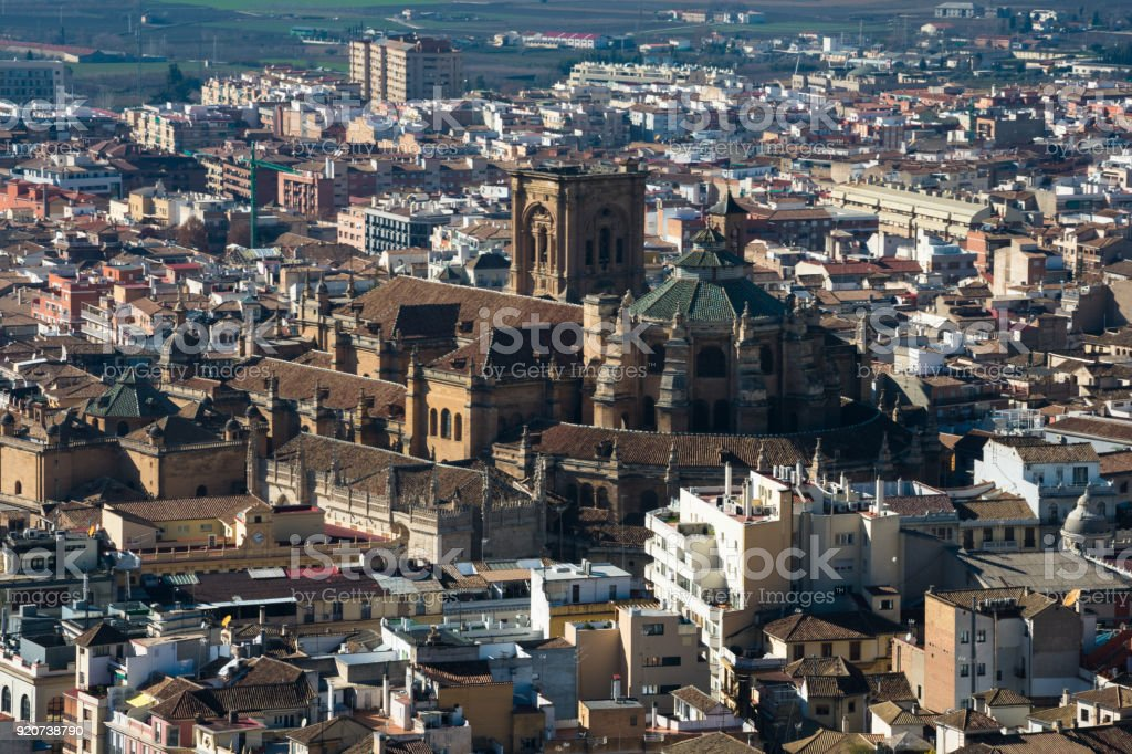 View of Granada city and the Cathedral stock photo