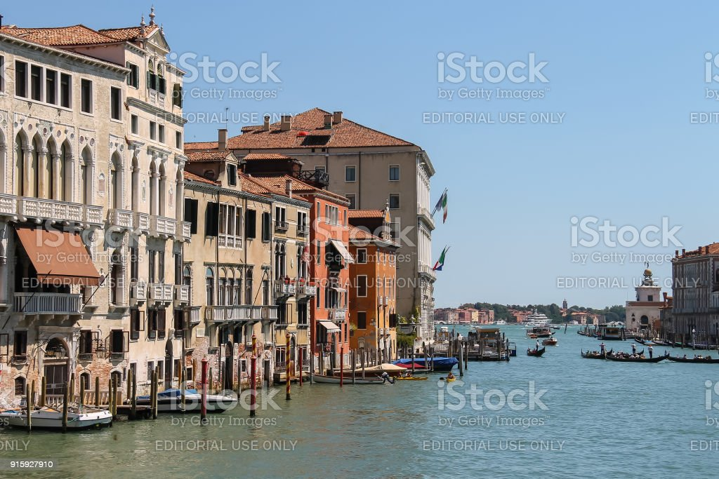View of Grand Canal from Accademia Bridge in Venice, Italy stock photo