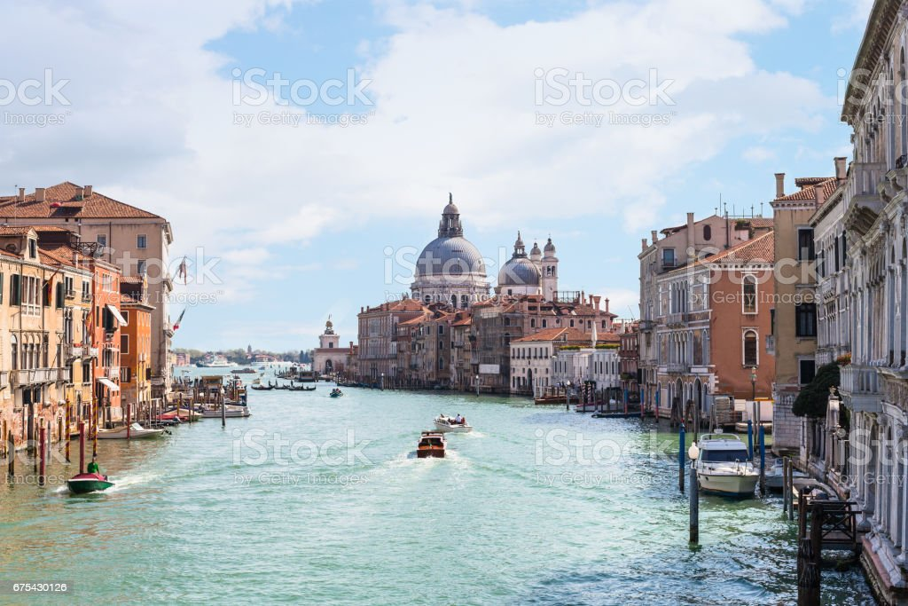 view of Grand Canal in Venice city in spring stock photo
