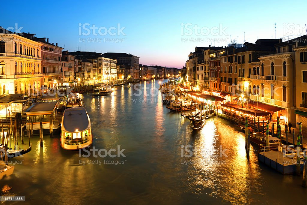 View of Grand Canal in Venice with boats at sunset royalty-free stock photo