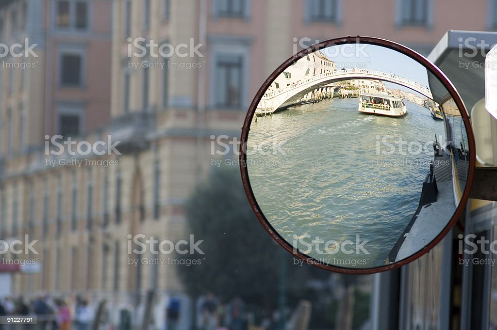 View of Grand Canal on a rear view mirror royalty-free stock photo