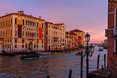 View of Grand Canal on sunset in Venice. Italy