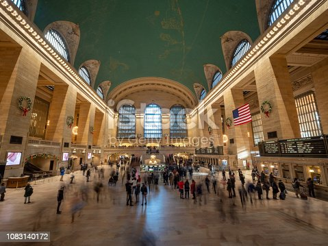 VIew of Grand Central Terminal with Decorations for the Holidays