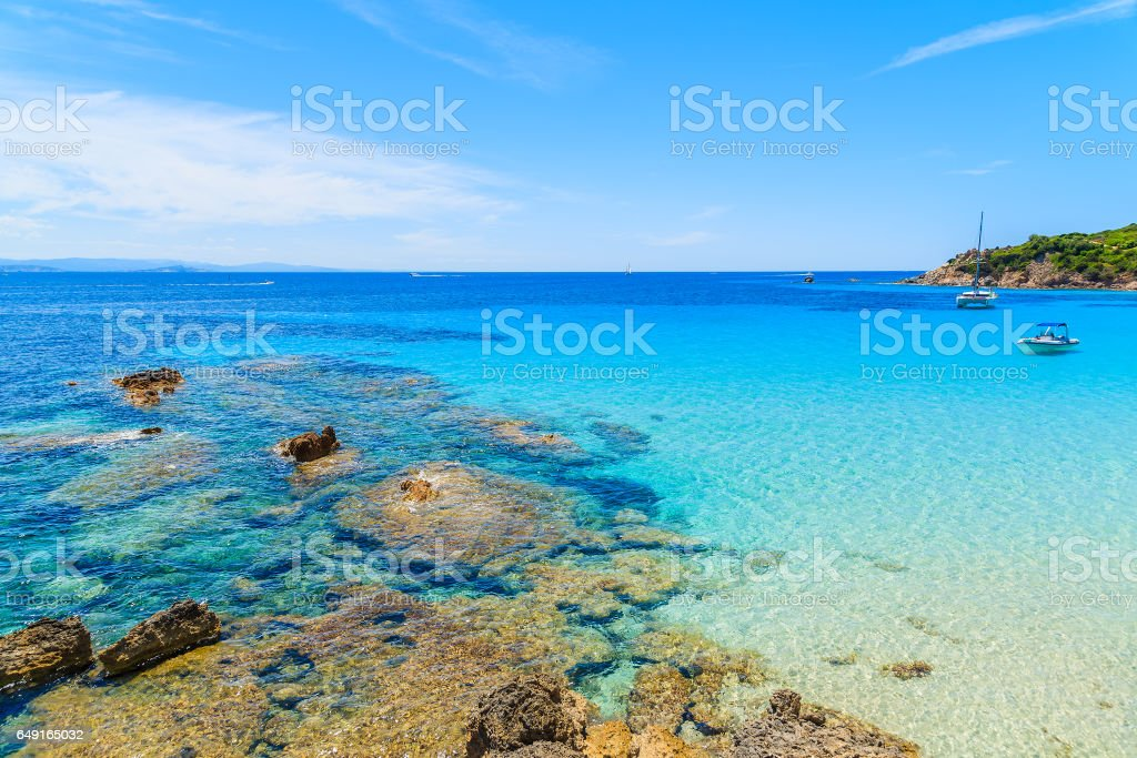 A view of Grande Sperone bay with crystal clear azure sea water, Corsica island, France stock photo