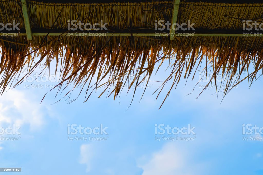 View of grass roof and blue sky and cloud in the background. stock photo