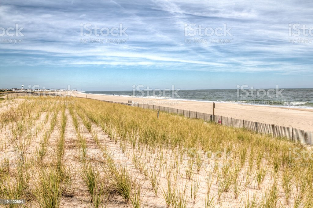 View of Grasses and Dunes at Bethany Beach Delaware, HDR stock photo