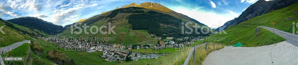 View of Graubünden mountains and the village Vals in Switzerland stock photo