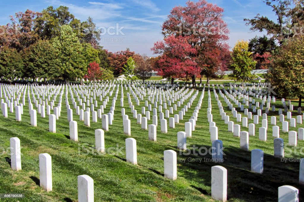 View of gravestones at Arlington National Cemetery stock photo