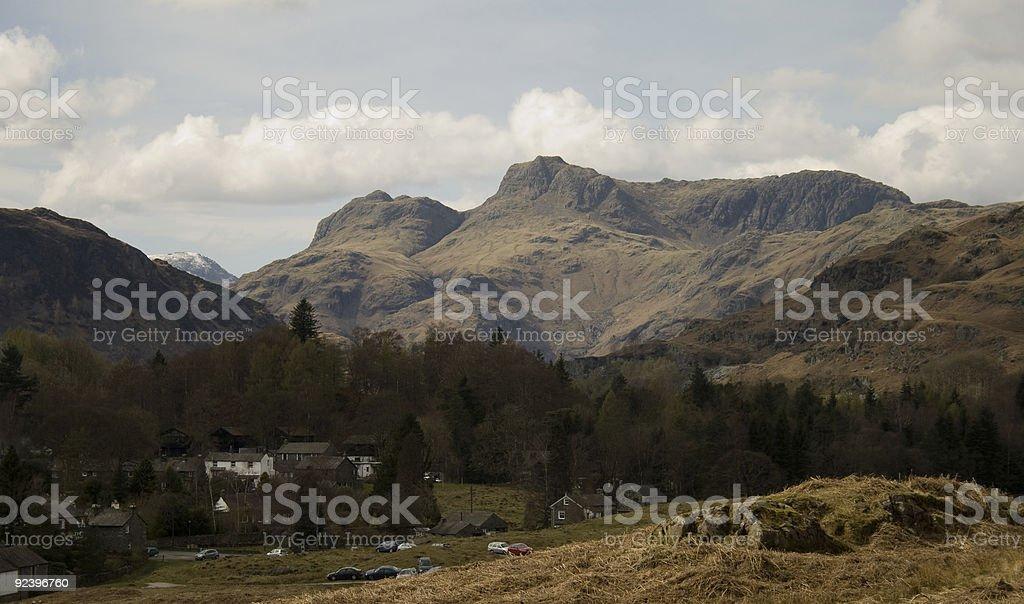 View of Great Langdale Mountain Range stock photo
