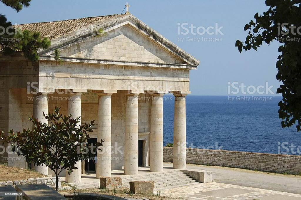 View of Greek temple and the ocean stock photo