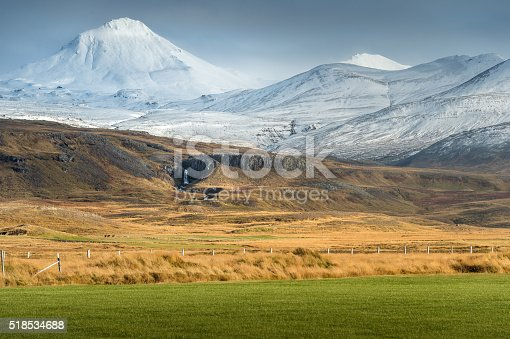 istock View of greenery and yellow field with snow mountain background 518534688