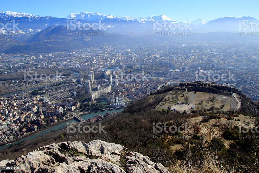 View of Grenoble and Bastille from the top of the mountain stock photo