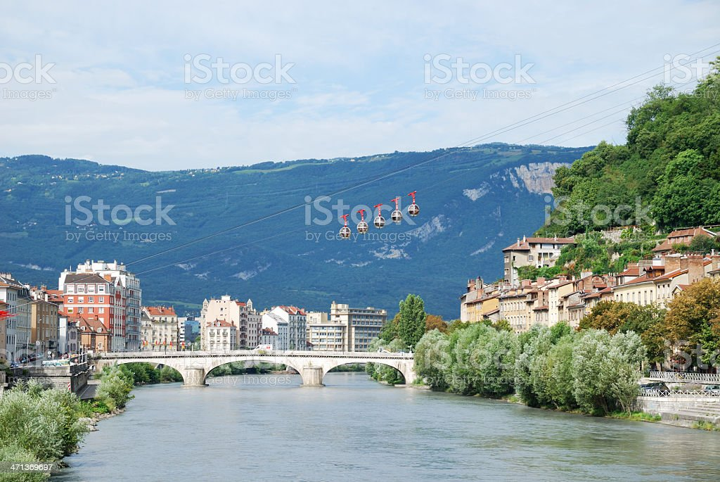 View of Grenoble with the cable cars 'Les Bulles'. royalty-free stock photo