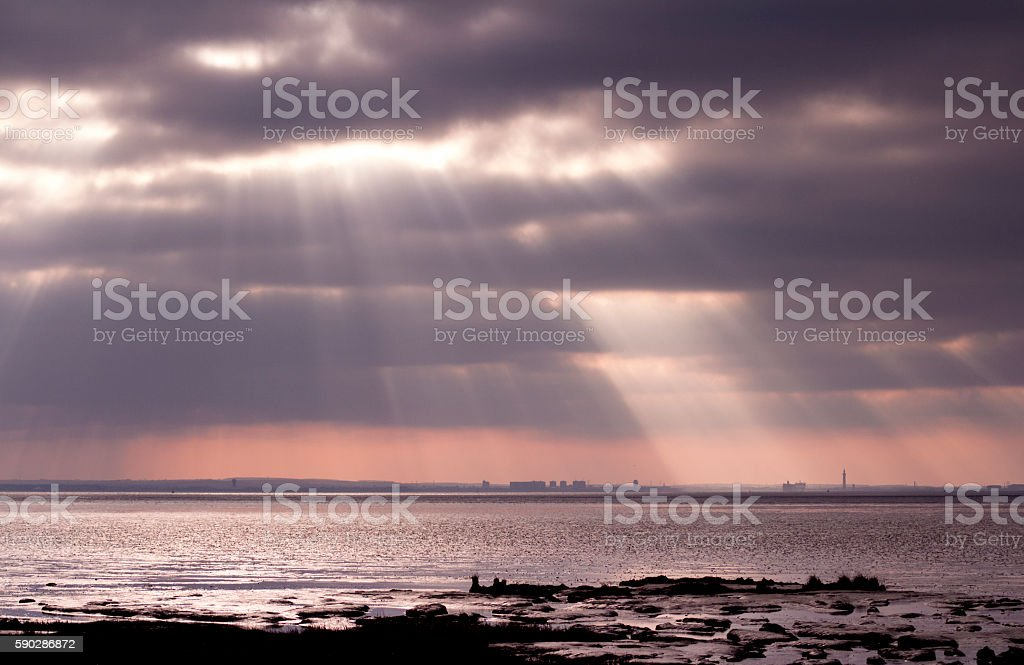View of Grimsby from Spurn Point, East Yorkshire stock photo