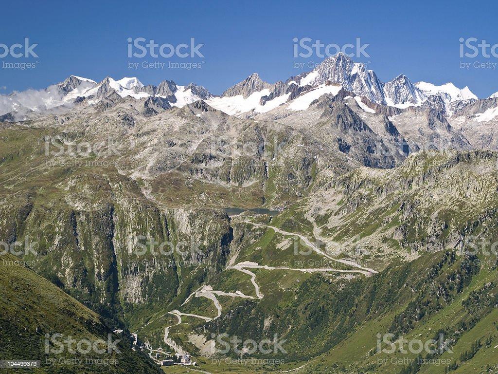 View of Grimsel high mountain pass, Switzerland stock photo
