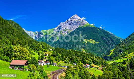 View of Gurtnellen, a village in Swiss Alps, canton Uri