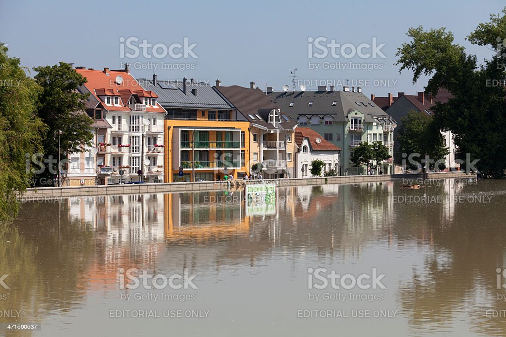 View of Gyor during the flood royalty-free stock photo