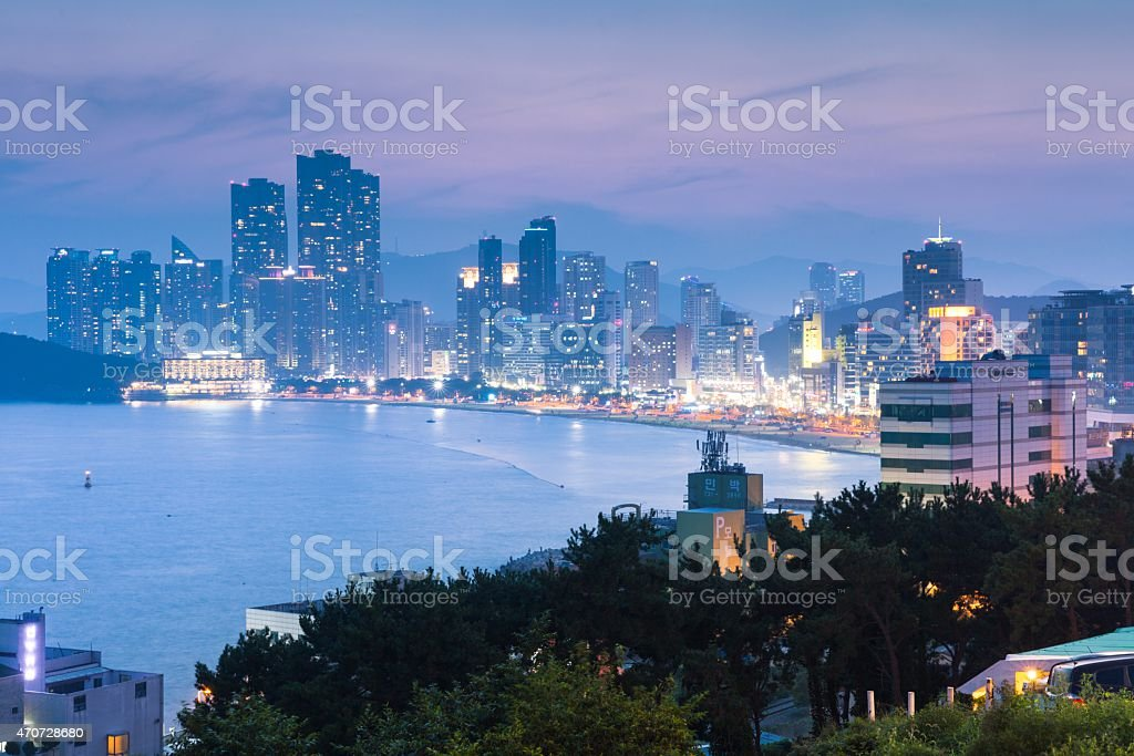 View of Haeundae beach and Haeundae City, Busan, South Korea. stock photo