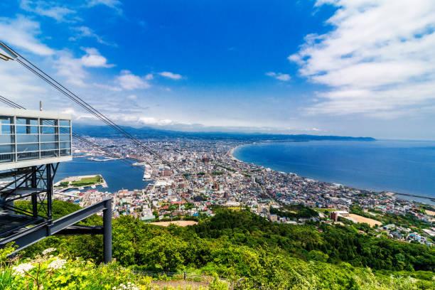 view of Hakodateyama in Hokkaido Japan stock photo